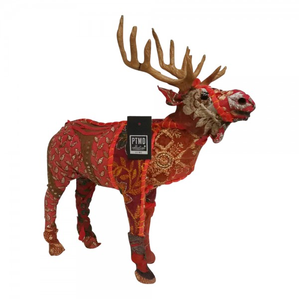 PTMD Deko Figur Rentier Elch Hirsch Weihnachten Patchwork rot bunt