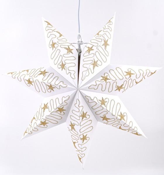 Weihnachtsstern Dekostern Ø45cm Fensterstern Stern weiß-gold Papierstern hängend E14