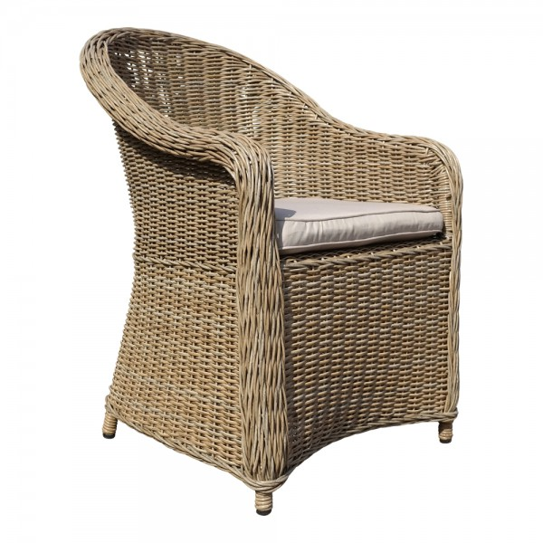 PANAMA Cappuccino Sessel Polster Stuhl Möbel Poly Rattan Garten Dining Chair