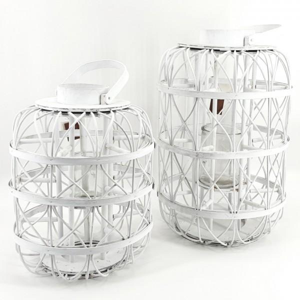 Laterne Windlicht Holz weiß Henkel Kerzen Glas Kerzenhalter