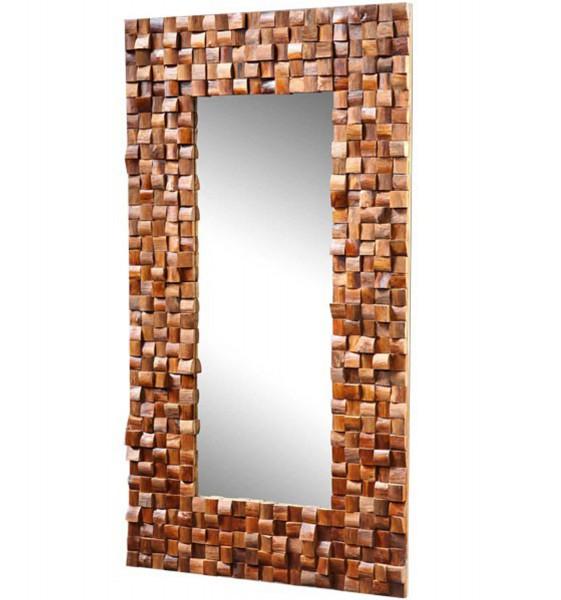 dasmöbelwerk Massiver Teakholz Spiegel Mosaik Teak Wandspiegel Badspiegel Massivholz 80 x120 cm