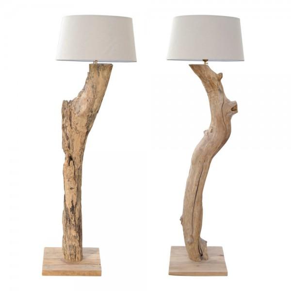 XXL Stehlampe NEW Hell Grau Leuchte massiv Teak Wurzel Holz Lampe Schirm