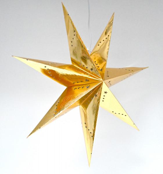 Weihnachtsstern Dekostern Ø 60cm Fensterstern Stern gold Papierstern hängend E14