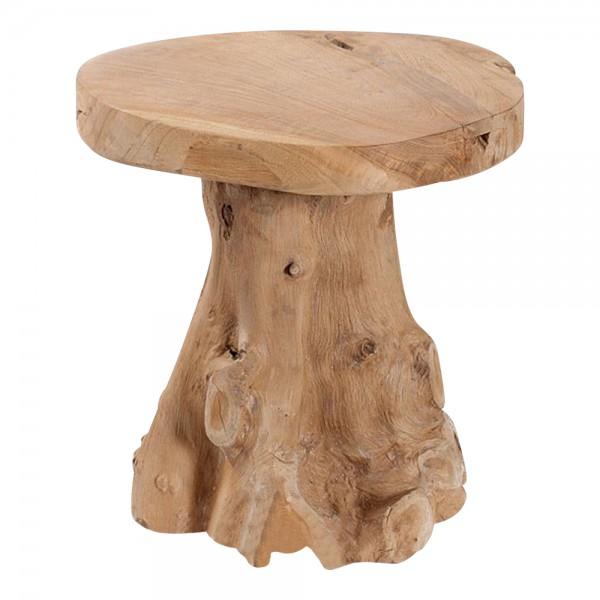 ROOT Beistelltisch Baumstamm Wurzel Hocker Teak massiv Holz natur