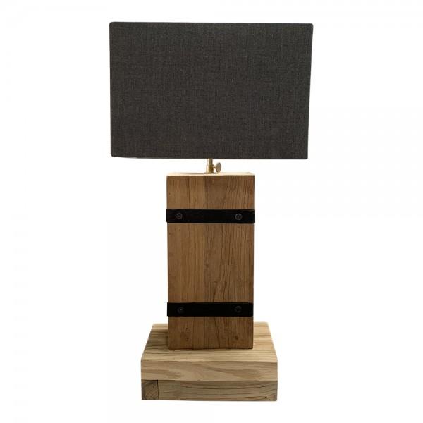 dasmöbelwerk Teak Lampe Industrial massiv Tischlampe mit Lampenschirm H60-67 cm