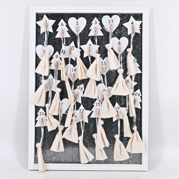 Adventkalender zum befüllen 24 Weihnachts-Holz-Magneten Memoboard Magnettafel