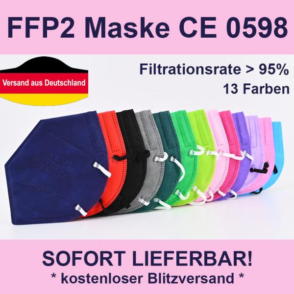 5 Stk 5 Stück FFP2 Maske 5-lagig CE Mundschutz in 13 Farben