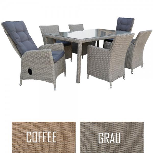 dasmöbelwerk Polyrattan Sitzgruppe Gartentisch 180/200 cm 2 Farben
