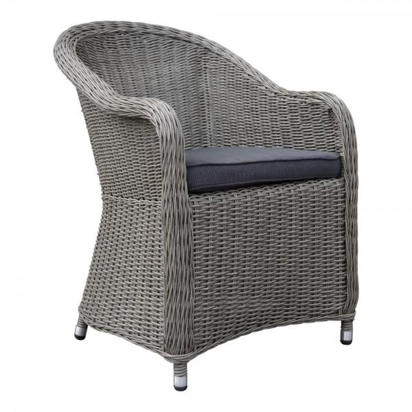Panama Grau Sessel Polster Stuhl Möbel Poly Rattan Garten Dining Chair