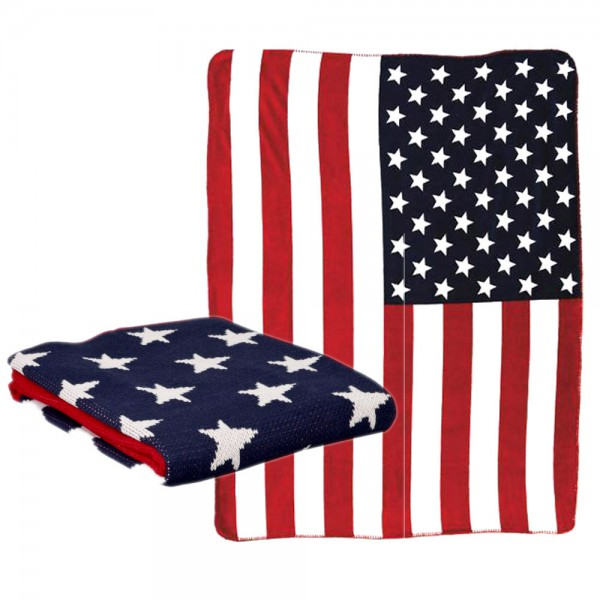 Clayre & Eef Plaid US Decke Kuscheldecke Vintage Stars & Stripes USA