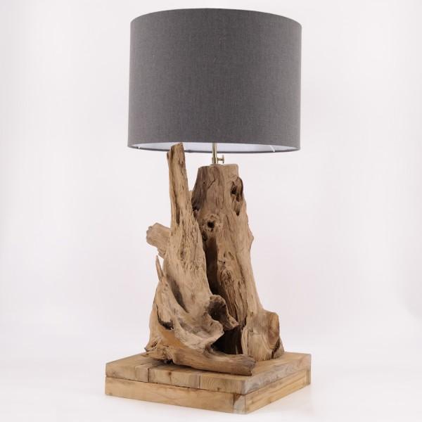 dasmöbelwerk Teak Lampe massiv Tischlampe mit Lampenschirm H78-86 cm