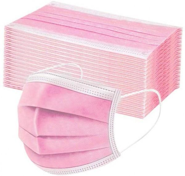50 Stk Medizinische Einweg Mundschutz OP-Maske Schutzmaske 3-lagig Atemschutz Maske Rosa