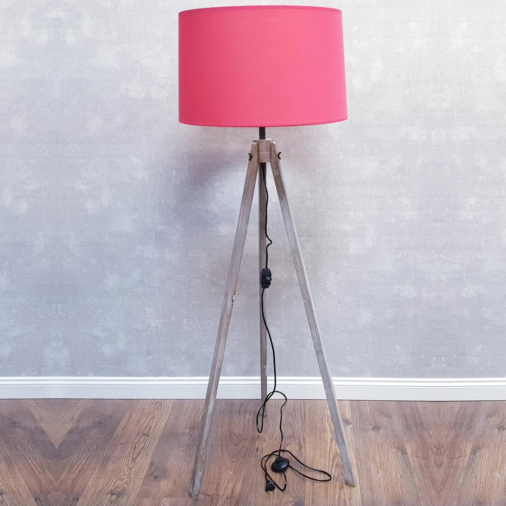 dasmöbelwerk Stehlampe Landhaus Leuchte 130cm Lampenschirm Dreibein dimmbar E 27