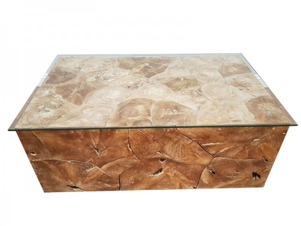 Teakholz Wurzel Holz inkl. Glasplatte Couchtisch Coffee Table ROOT 100 cm
