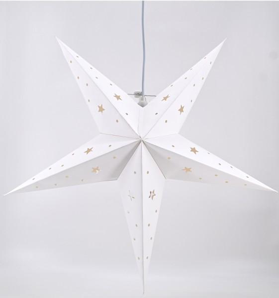 Weihnachtsstern Dekostern Fensterstern Stern weiß Papierstern hängend E14 60 cm-
