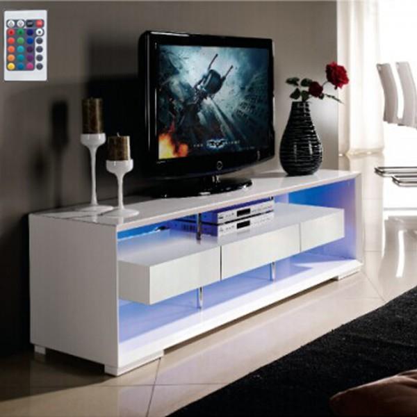 TV-Lowboard Design Sideboard LED Beleuchtung Hifi-Regal Rack weiß Glanz