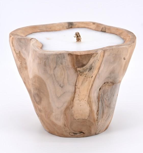 Teak Holz Natur Kerze Wurzel Teakschale Holzschale Schalenkerze Dekokerze Windlicht