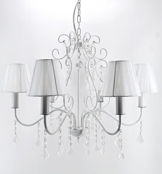 Kaemingk Landhaus Kronleuchter Hängelampe weiß 6 Arme mit Lampenschirmen E14 max 40W