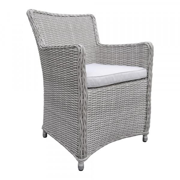 LILIE Silber hell Sessel Polster Stuhl Möbel Poly Rattan Garten Dining Chair