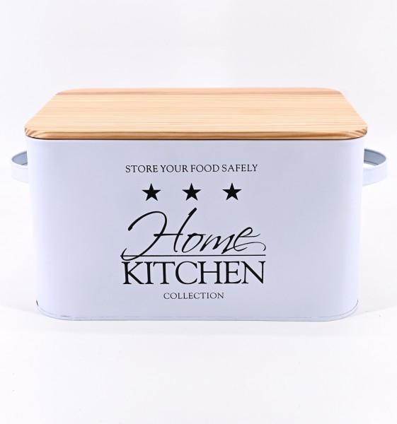 HOME Kitchen Retro Metall Brotkasten Brotbox Aufbewahrungs Dose mit Holzdeckel