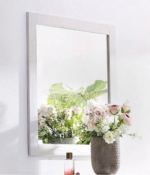 Wand Garderoben Bad Spiegel CUBO 75 cm Holzrahmen weiß
