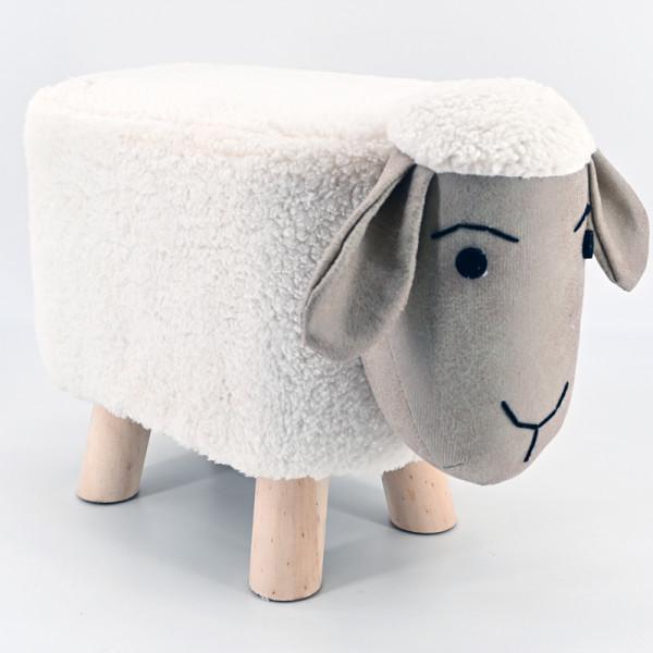 Tierhocker Stoff Holzbeine Deko Hocker Kinderhocker Tiere Kinder Schaf Plüsch