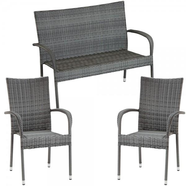 Gartenmöbelset IBIZA 2 Stk. Polyrattan Stapel Stuhl und 2er Gartenbank Grau